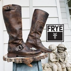 Frye Antique Crackle Brown Tall Engineer Boots 6.5